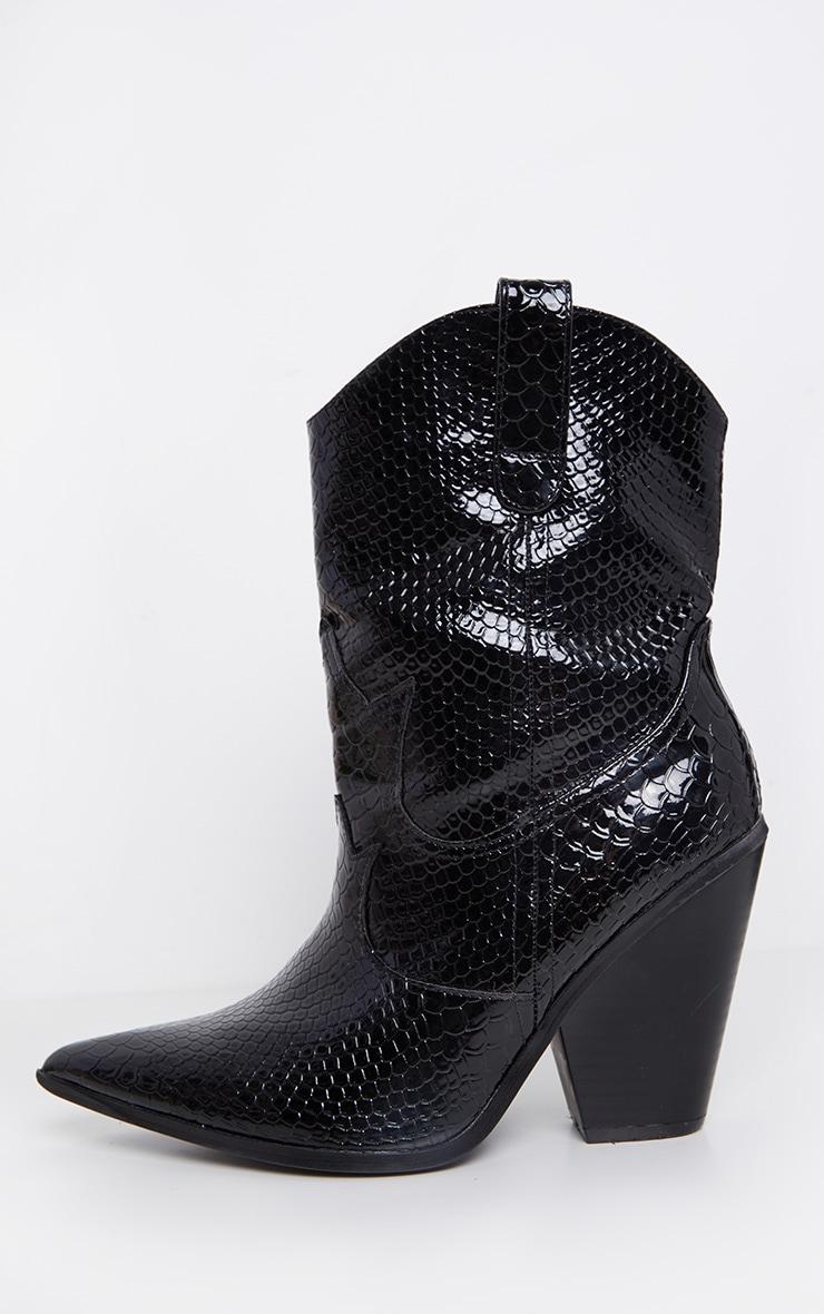 Black Croc Western Boot 5