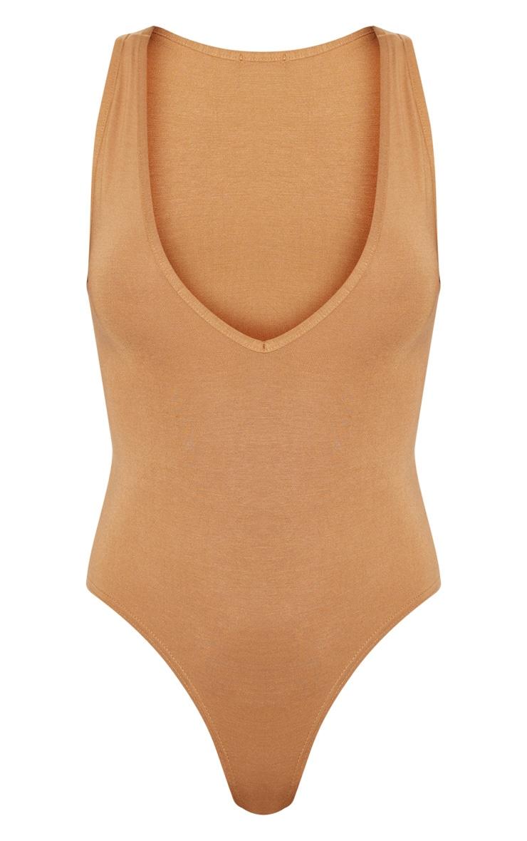 Basic Brown Jersey Plunge Neck Thong Bodysuit  3