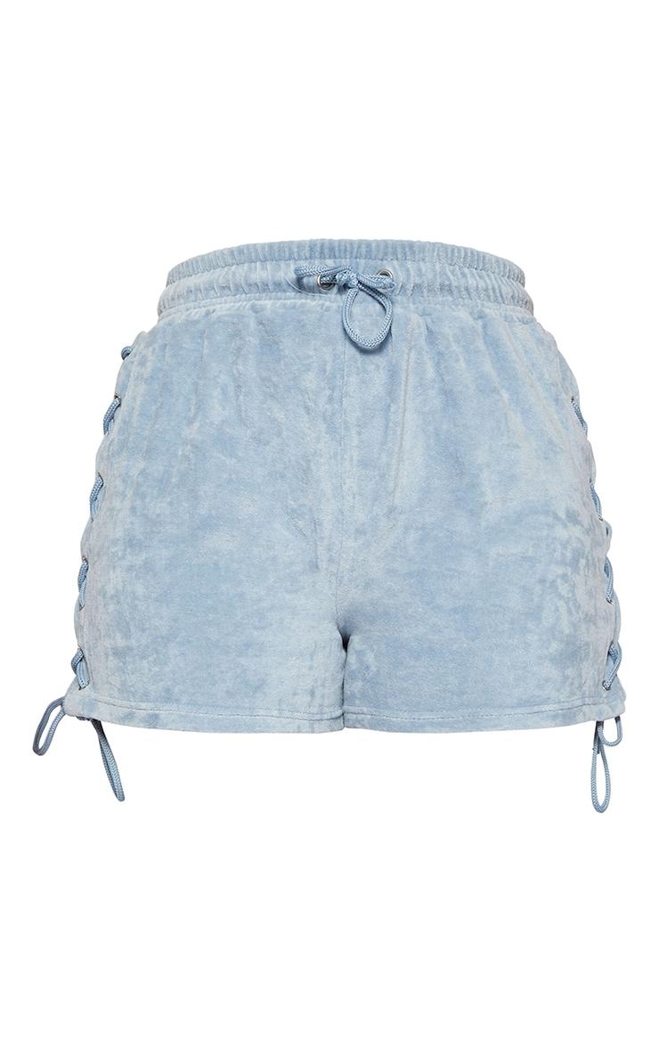 Shape Blue Velour Lace Up Side Shorts 6