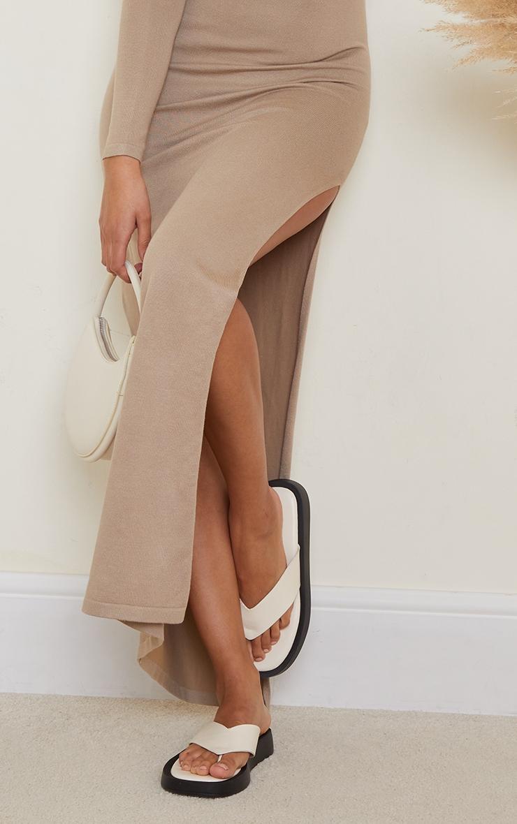 Stone Collar Detail Maxi Side Split Knitted Dress 4