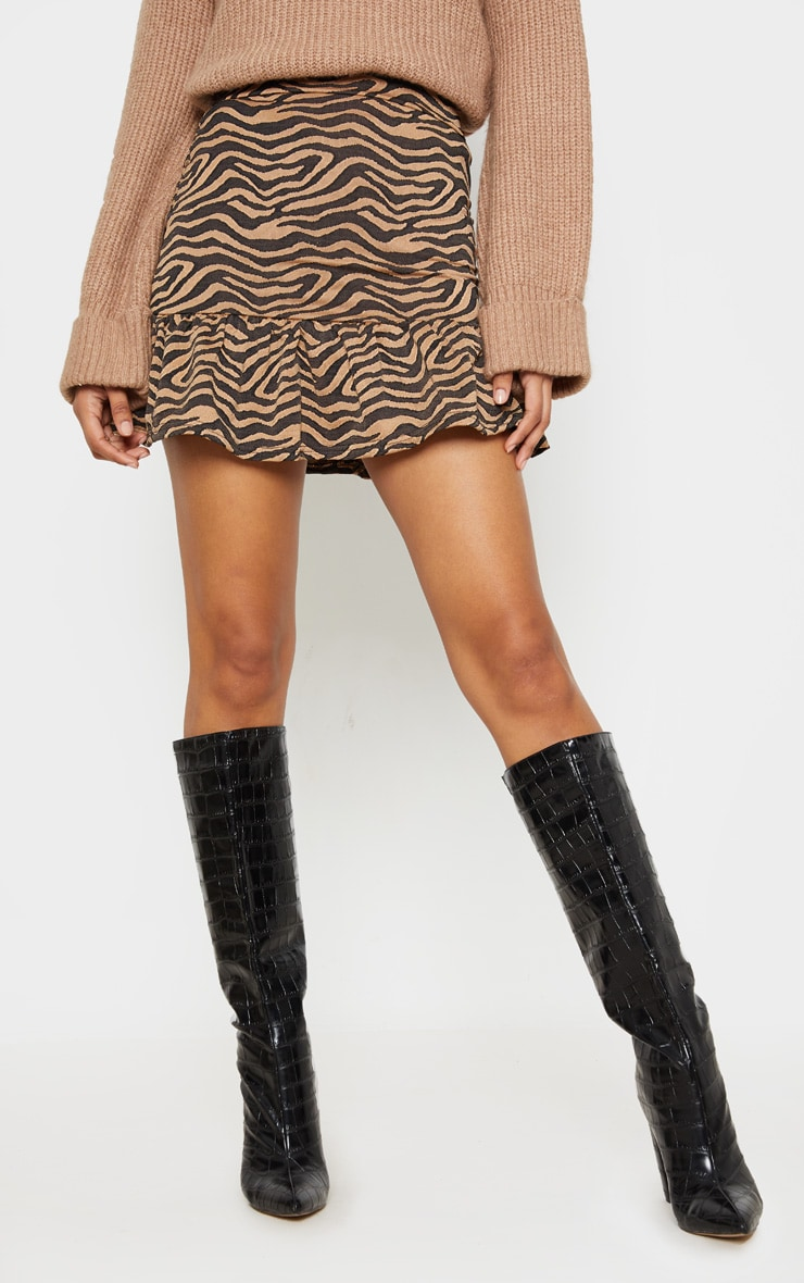 Tan Zebra Print Flippy Hem Mini Skirt 2
