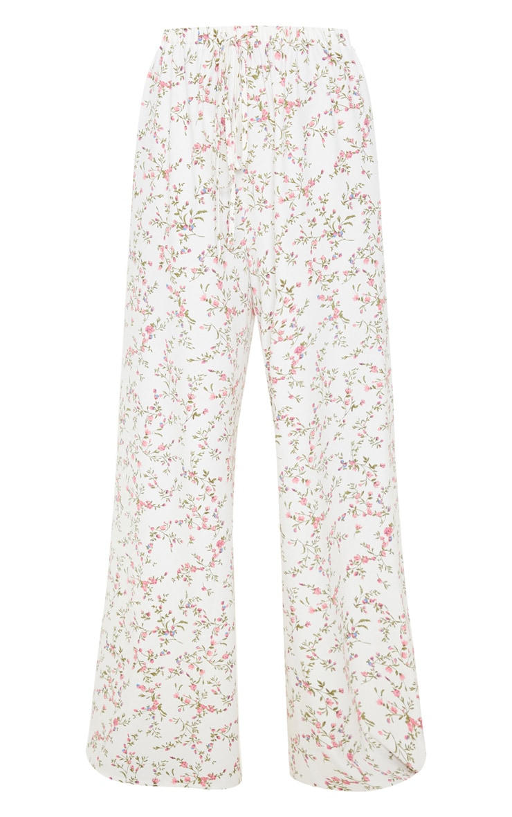 White Ditsy Floral Wide Leg Pants 3