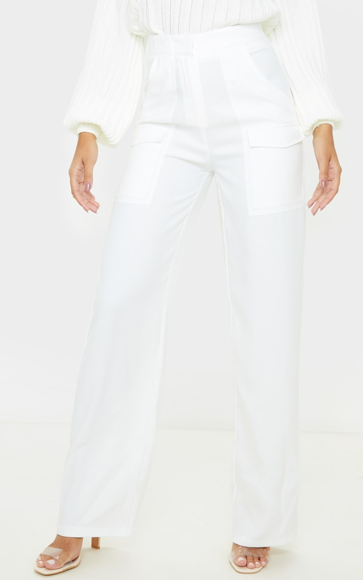 Cream Straight Leg Pocket Pants 2