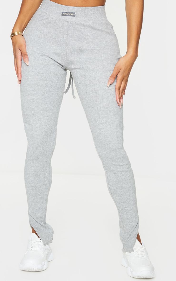 PRETTYLITTLETHING Shape Grey Rib Badge Detail Ruched Bum Leggings 2