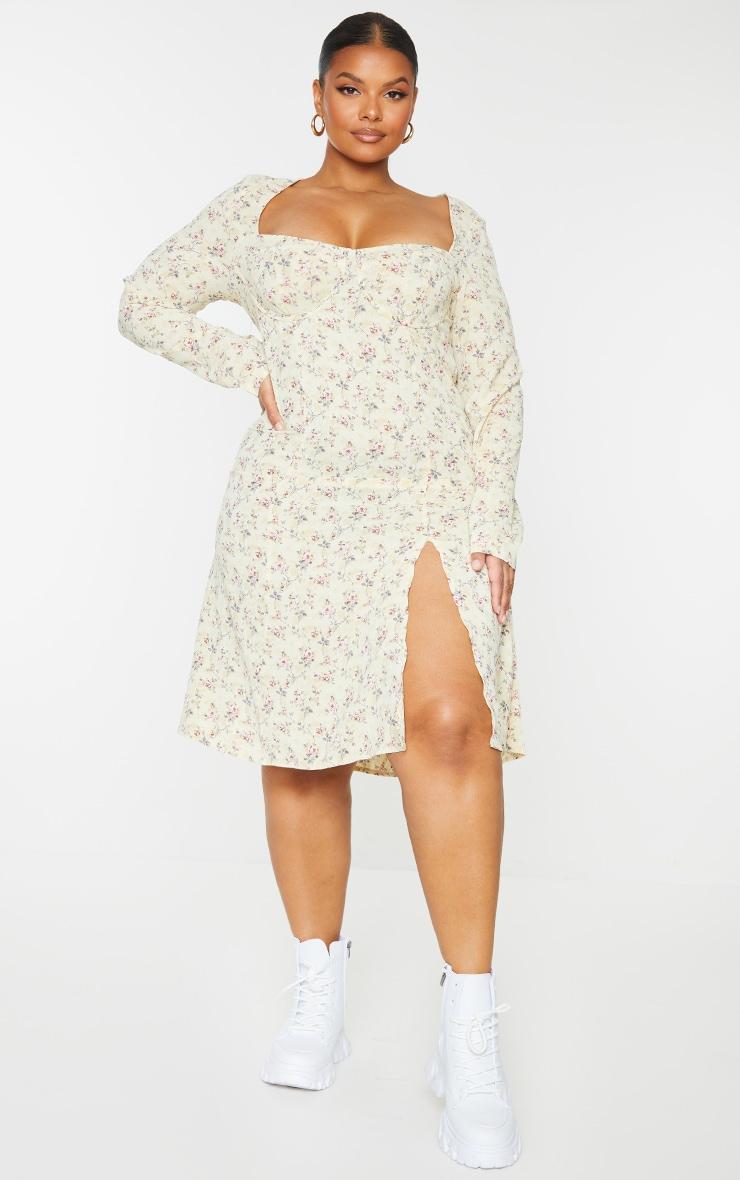 Plus White Ditsy Floral Print Cupped Split Detail Midi Dress 1