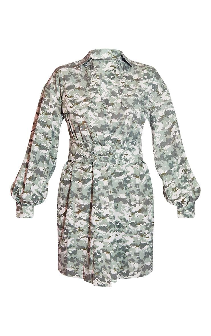 Khaki Pixilated Camo Plunge Waist Detail Long Sleeve Shift Shirt Dress 5