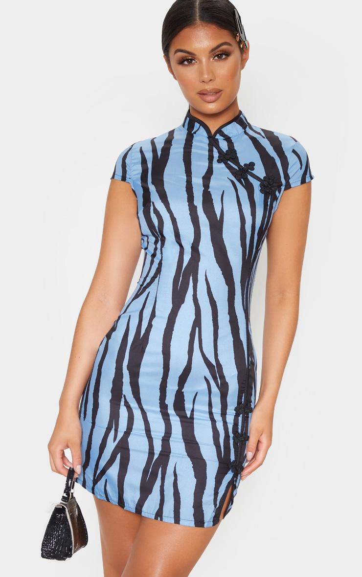Blue Zebra Oriental Bodycon Dress 4