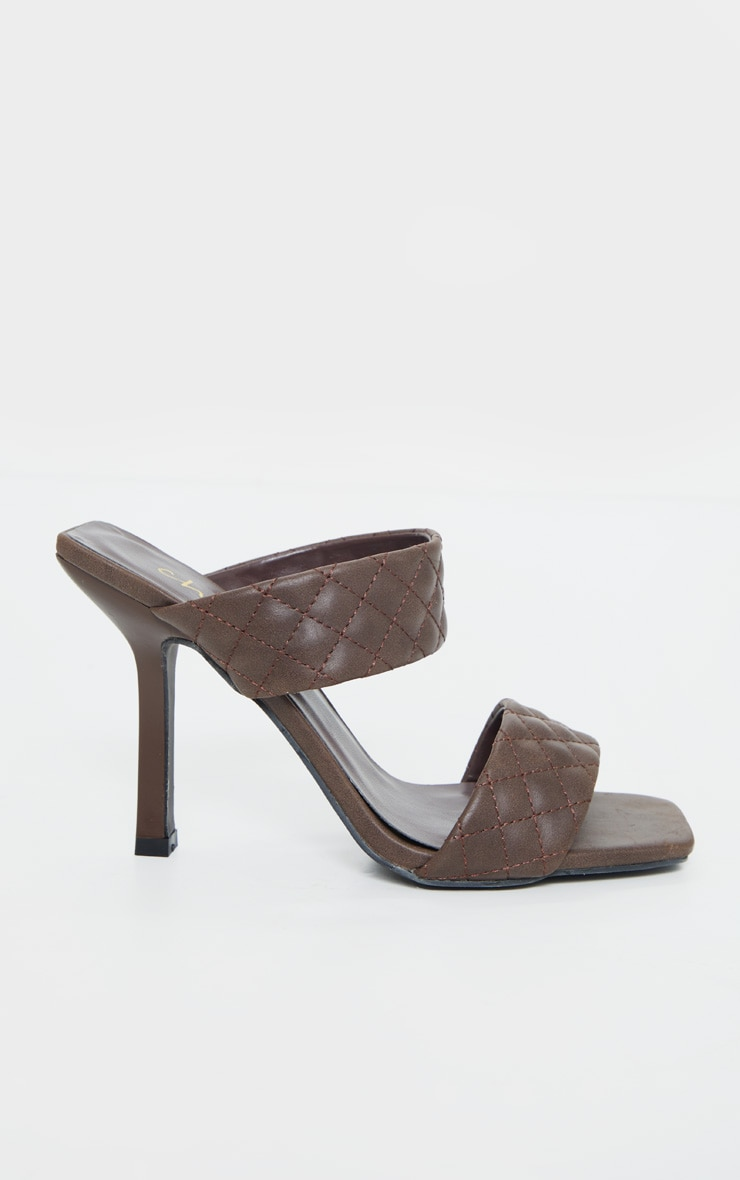 Chocolate Twin Strap Quilted Mule Heels 5