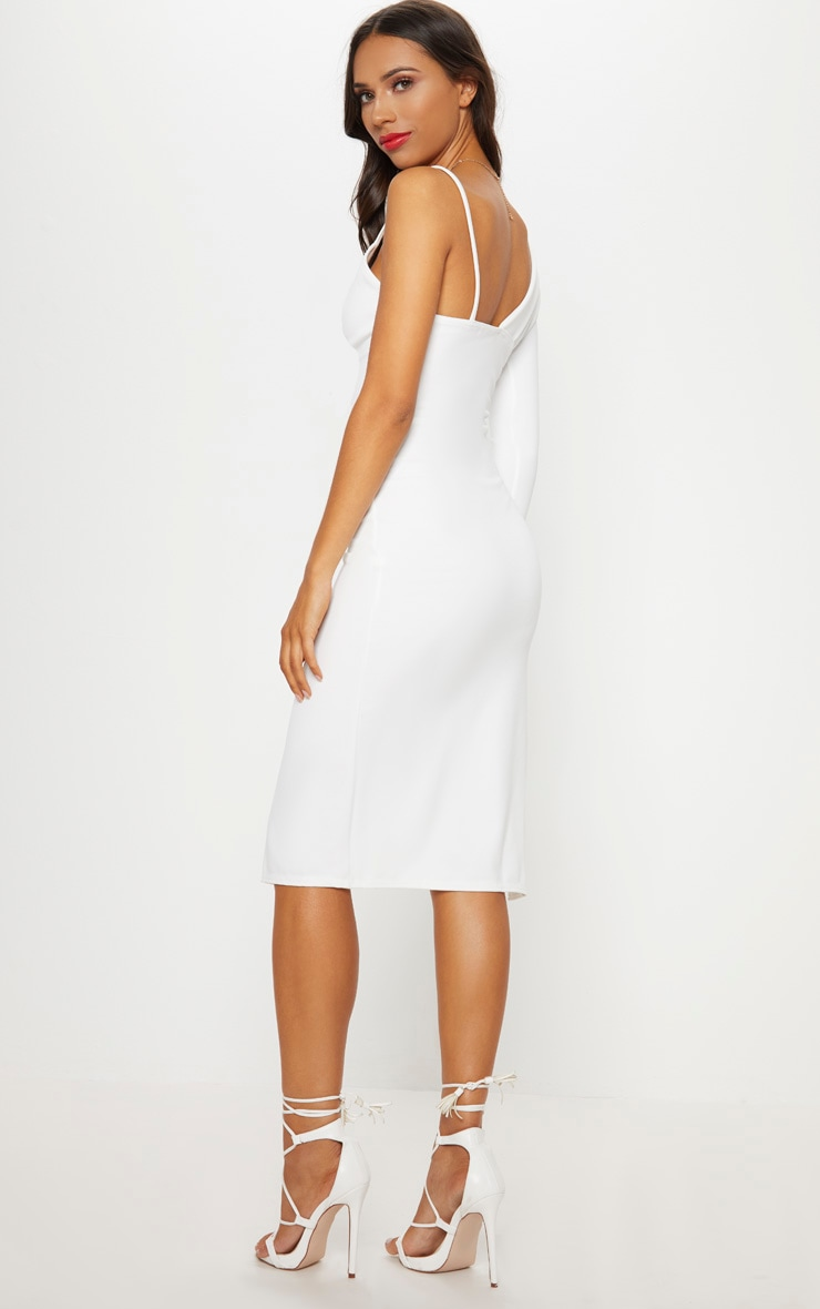 White Asymmetric Tux Style Split Leg Midi Dress 2