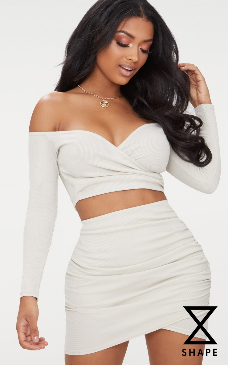 Shape Stone Ribbed Bodycon Skirt