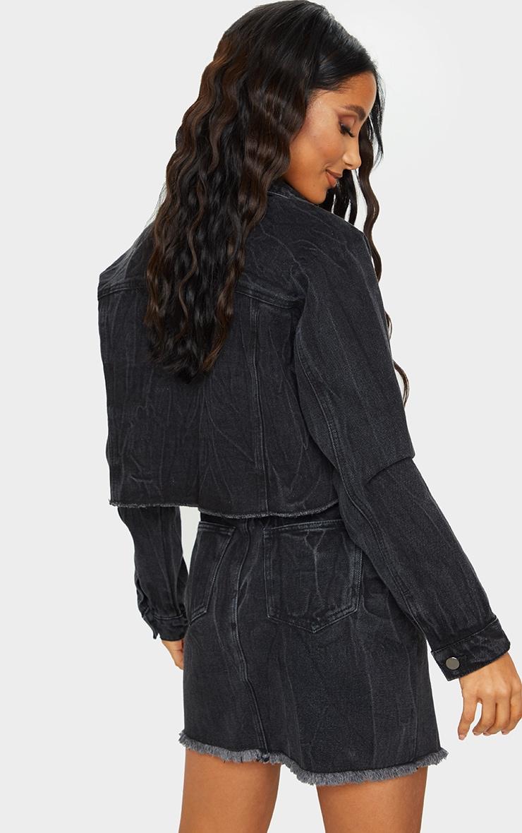Washed Acid Black Cropped Denim Jacket 2