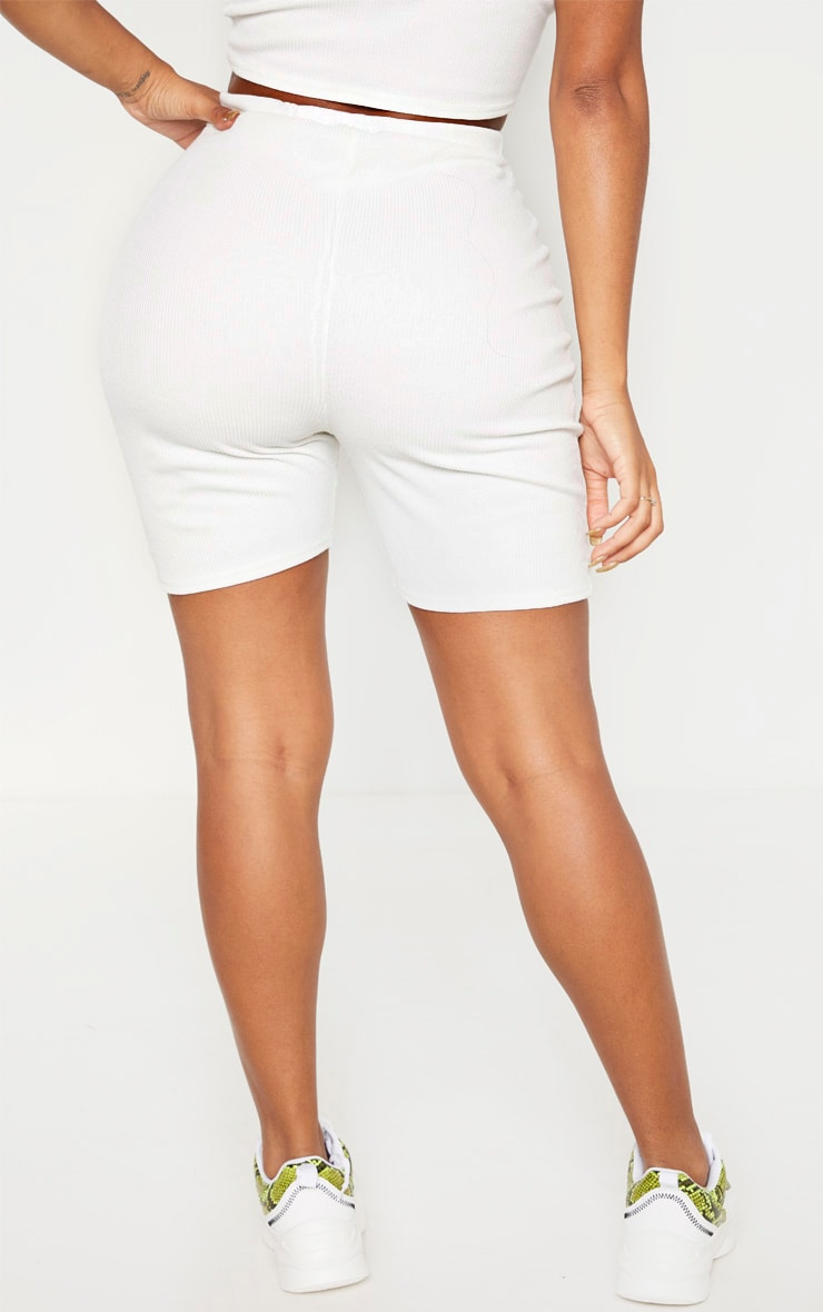 Shape White Ribbed High Waist Bike Short 4