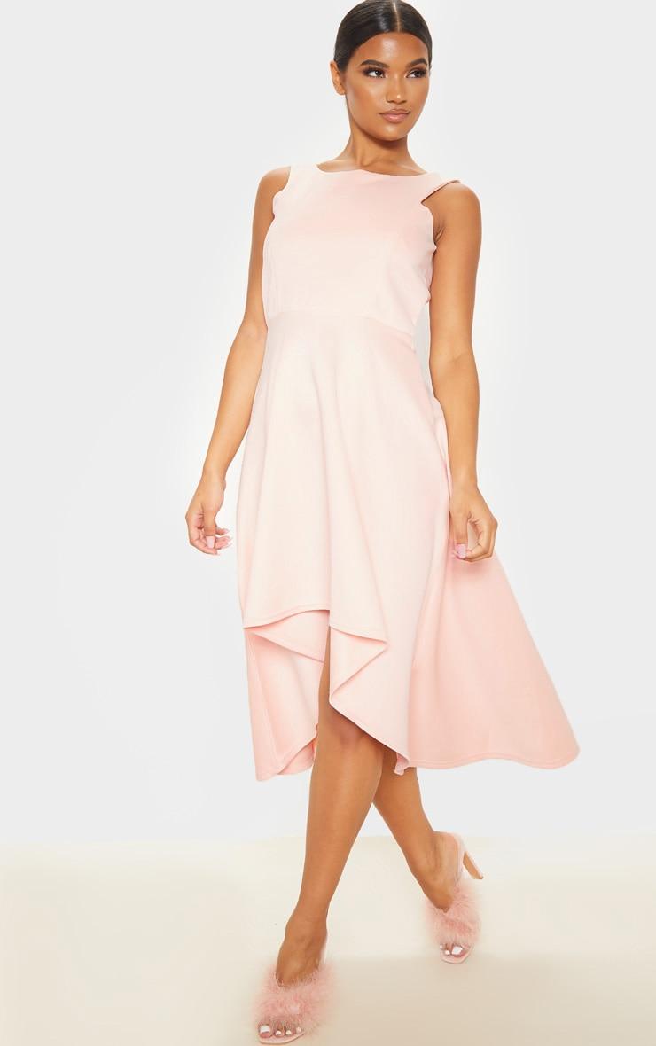 Nude Scuba Sleeveless Drop Hem Midi Dress 4