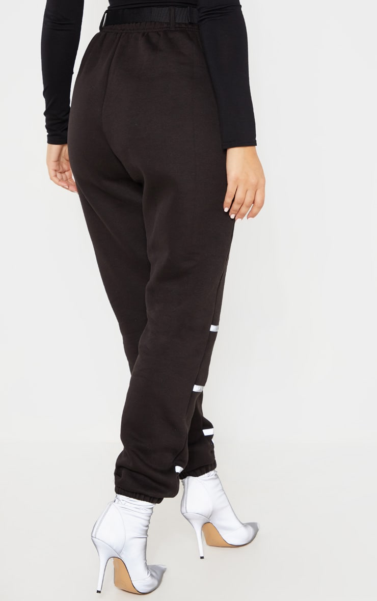 Black Belted Reflective Tape Cuffed Jogger 4