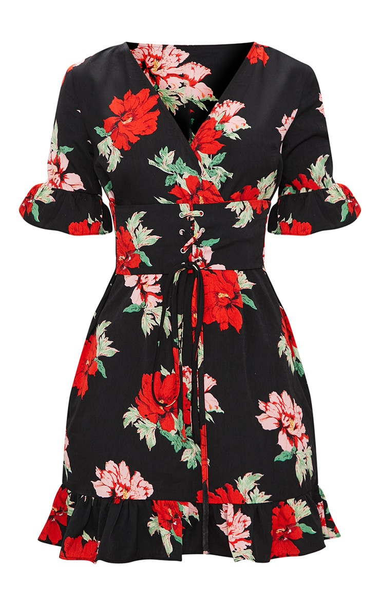 Black Corset Floral Swing Dress 3