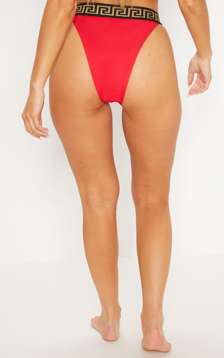 Red Greek Key Bikini Bottom 4