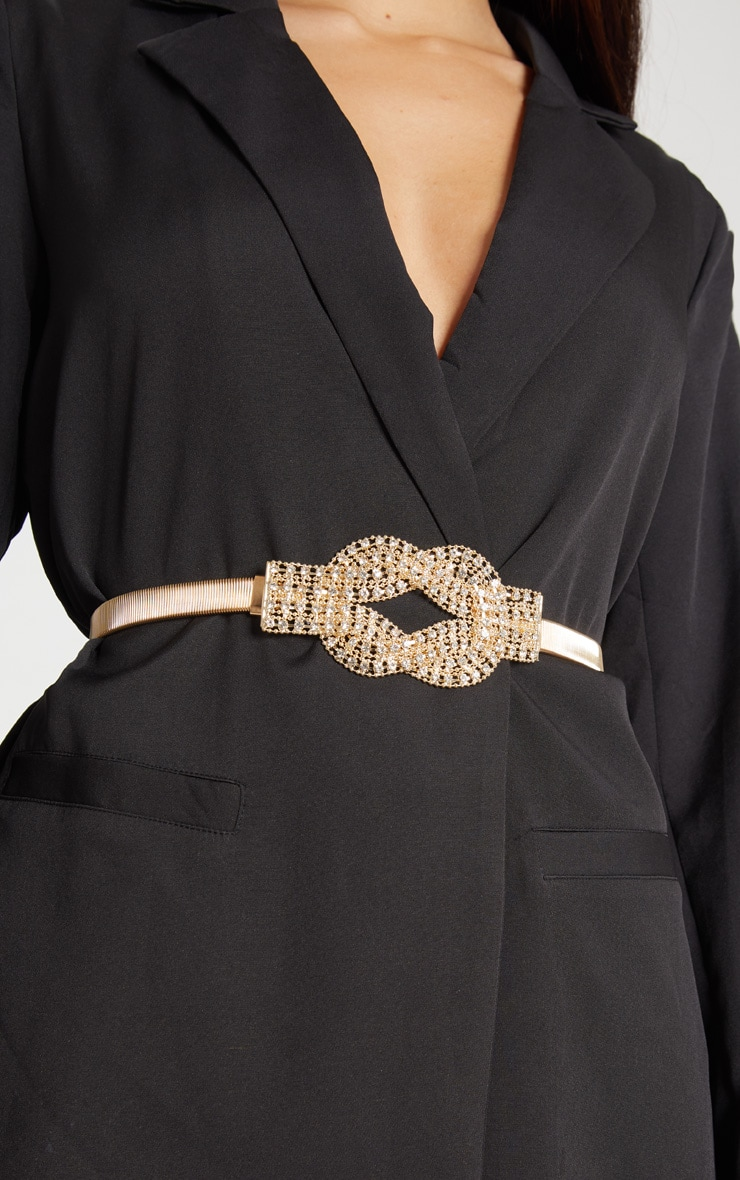 Gold Diamante Statement Belt 1