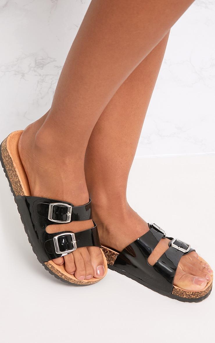 Adena Black Metallic Double Strap Sandals 2