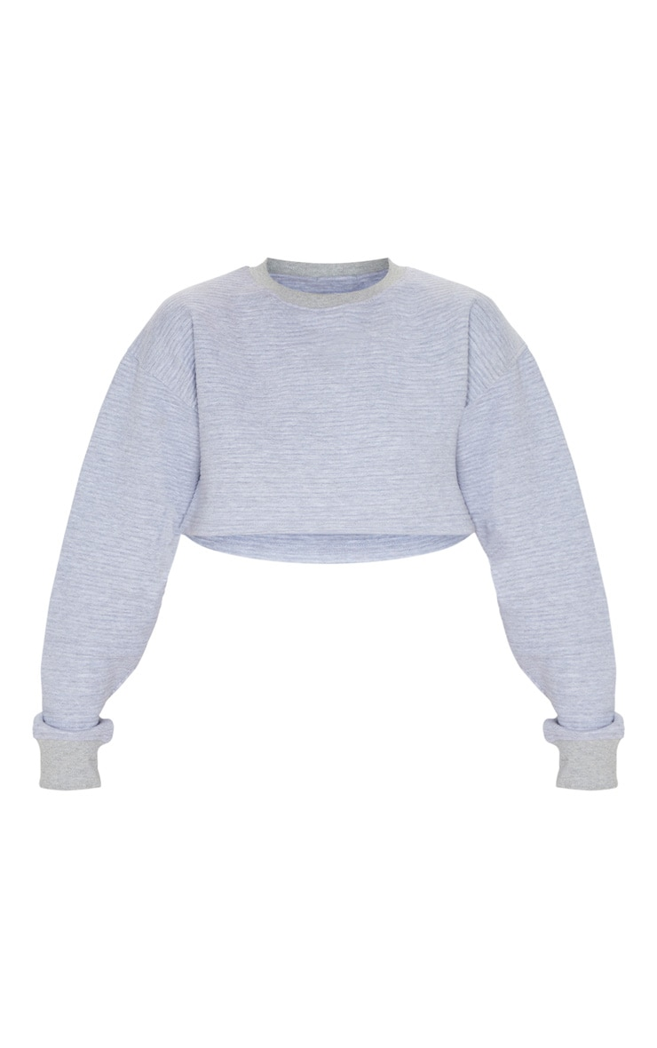 Grey Jumbo Rib Long Sleeve Crop Sweater 4