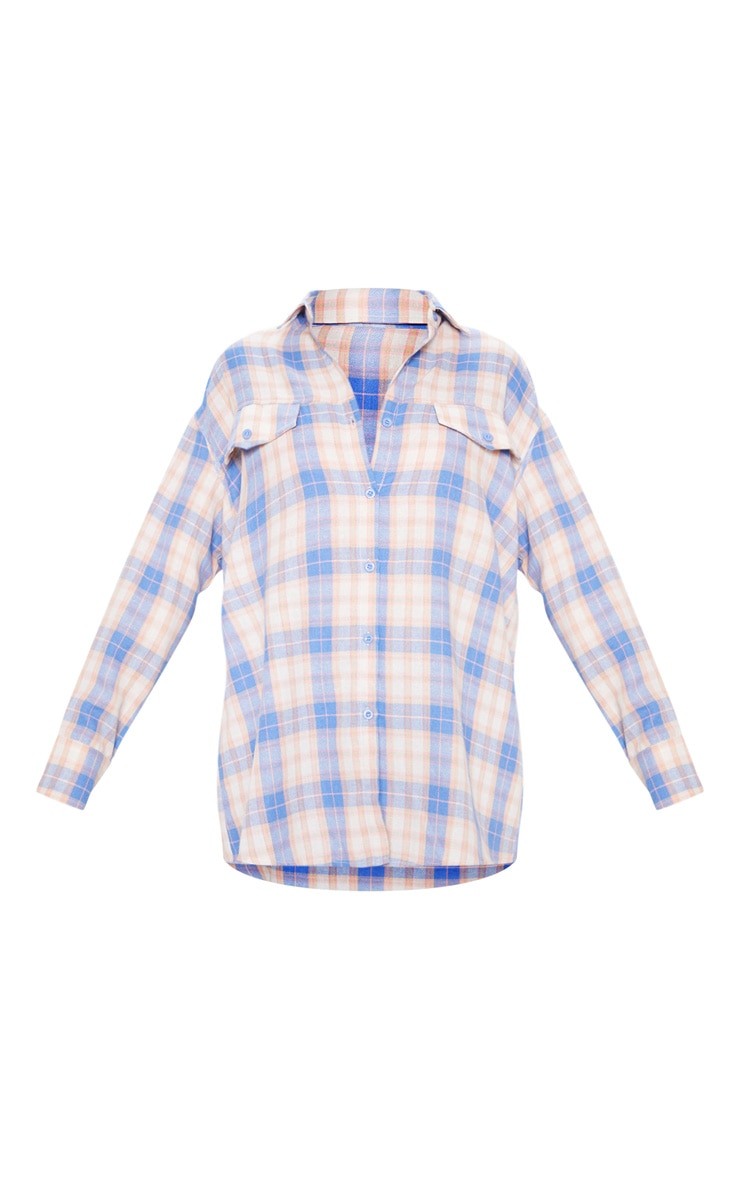 Pale Blue Checked Oversized Pocket Detail Shirt 3