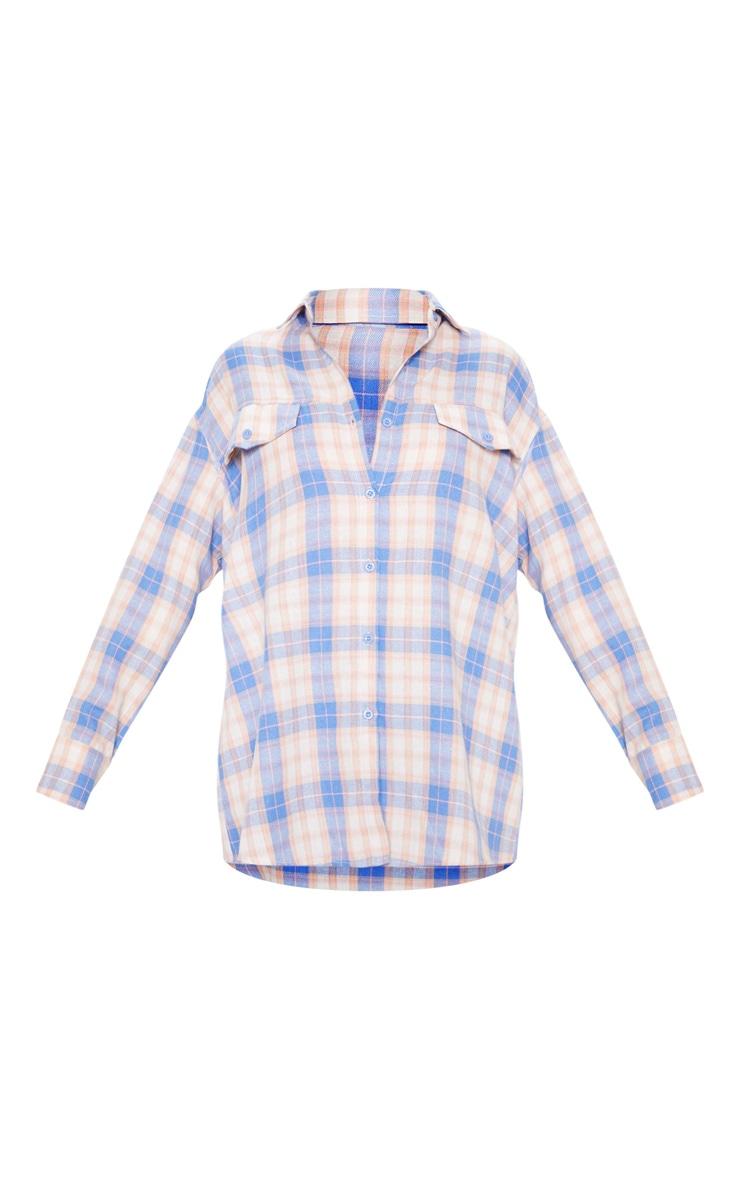Chemise oversize bleu ciel à carreaux 3