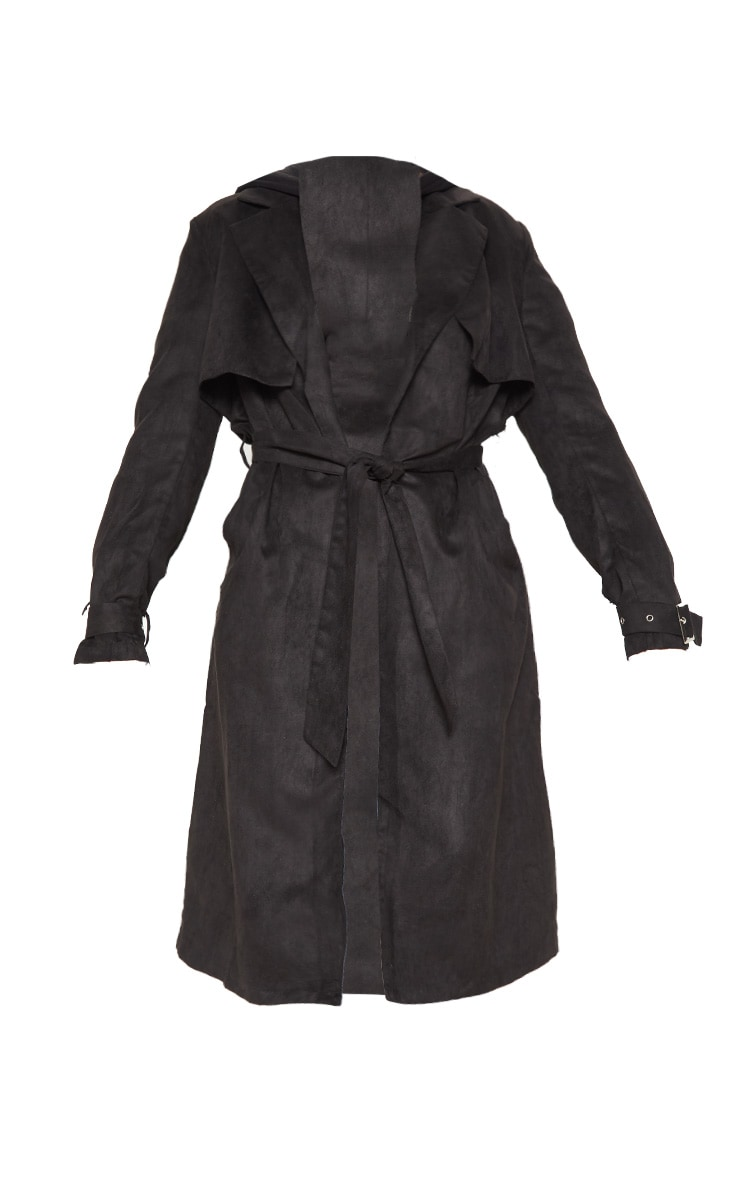 Black Faux Suede Trench  3