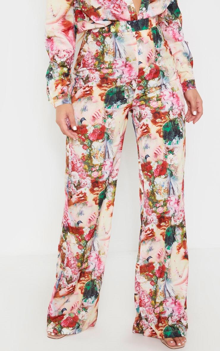 Rose Femme Renaissance Print Wide Leg Pants 2