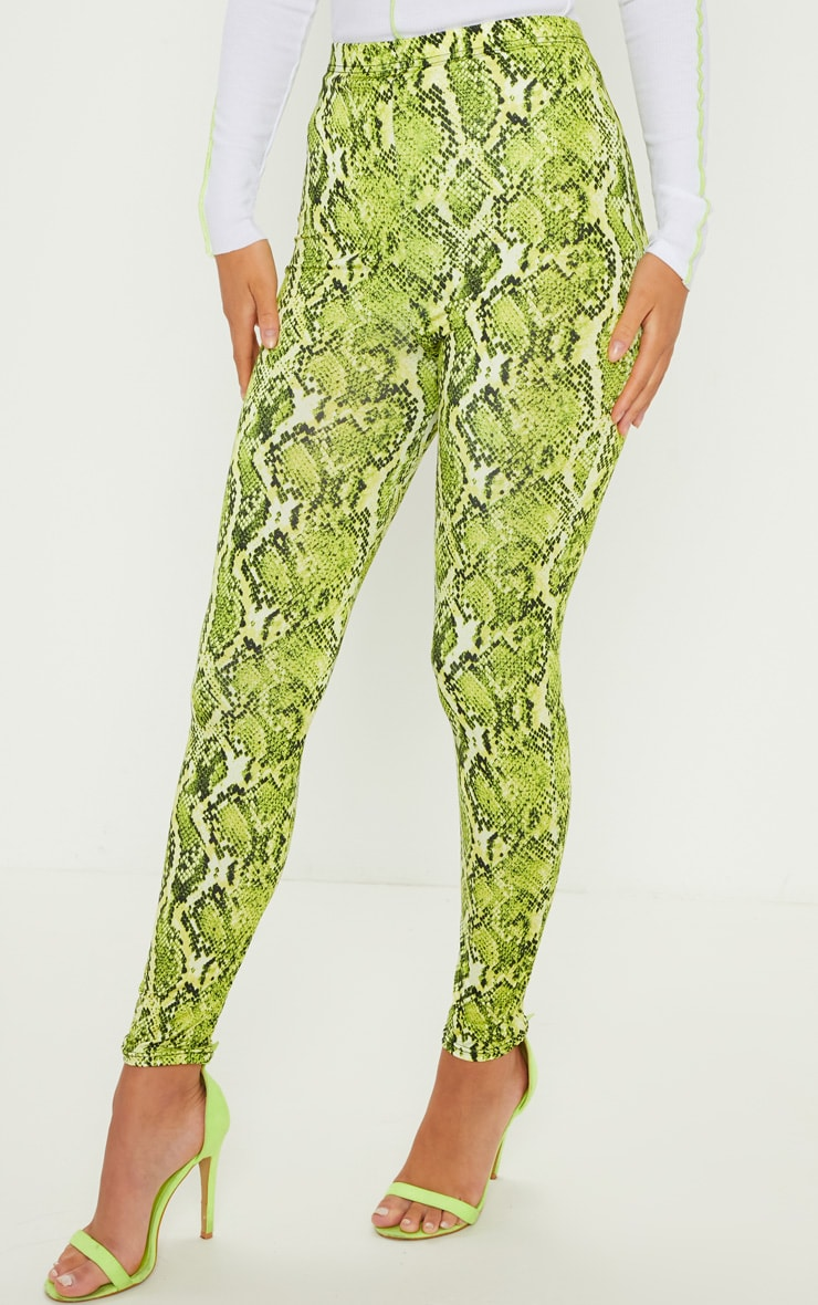 Lime Neon Snake Print Soft Touch Legging 2