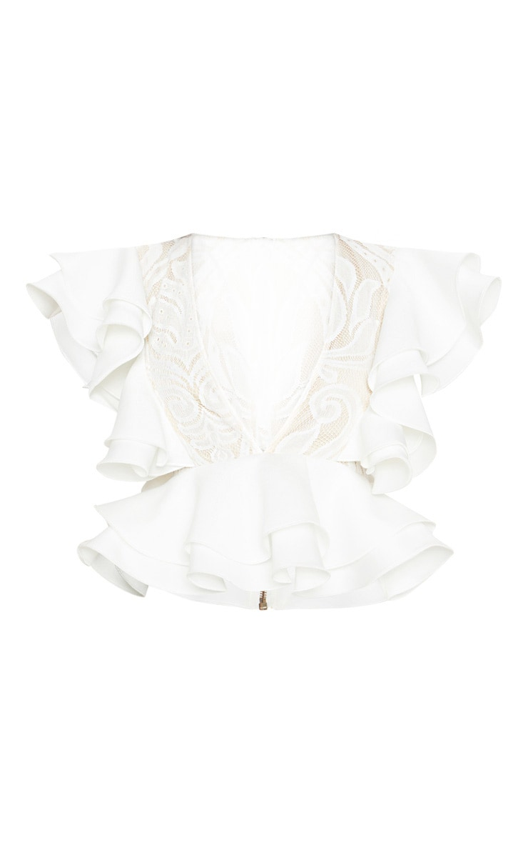 White Ruffle Detail Plunge Blouse 3