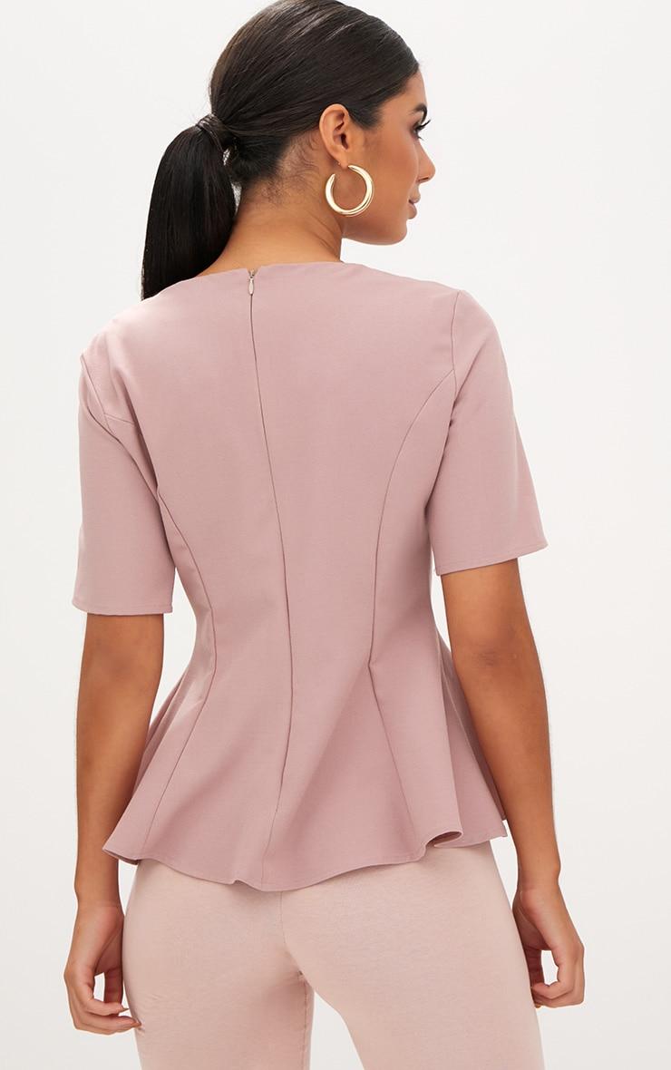 Blush Short Sleeve Peplum Hem Woven Top 2