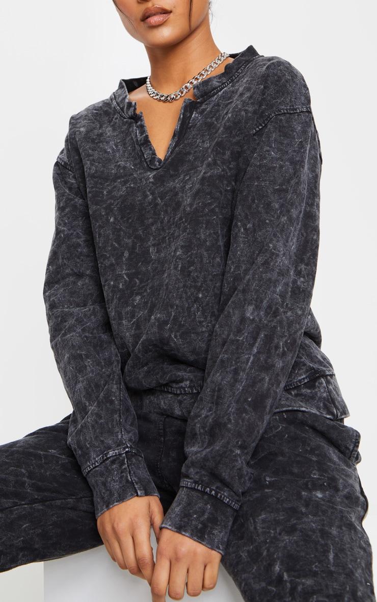 Black V Neck Long Sleeve Washed Sweater 4