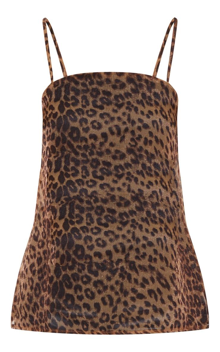 Tan Leopard Printed Chiffon Longline Cami 3