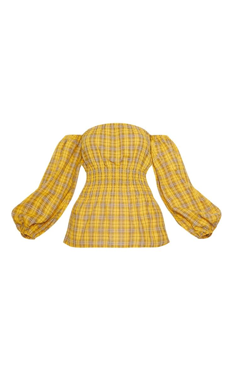 Mustard Check Shirred Detail Long Sleeve Bardot Top 3