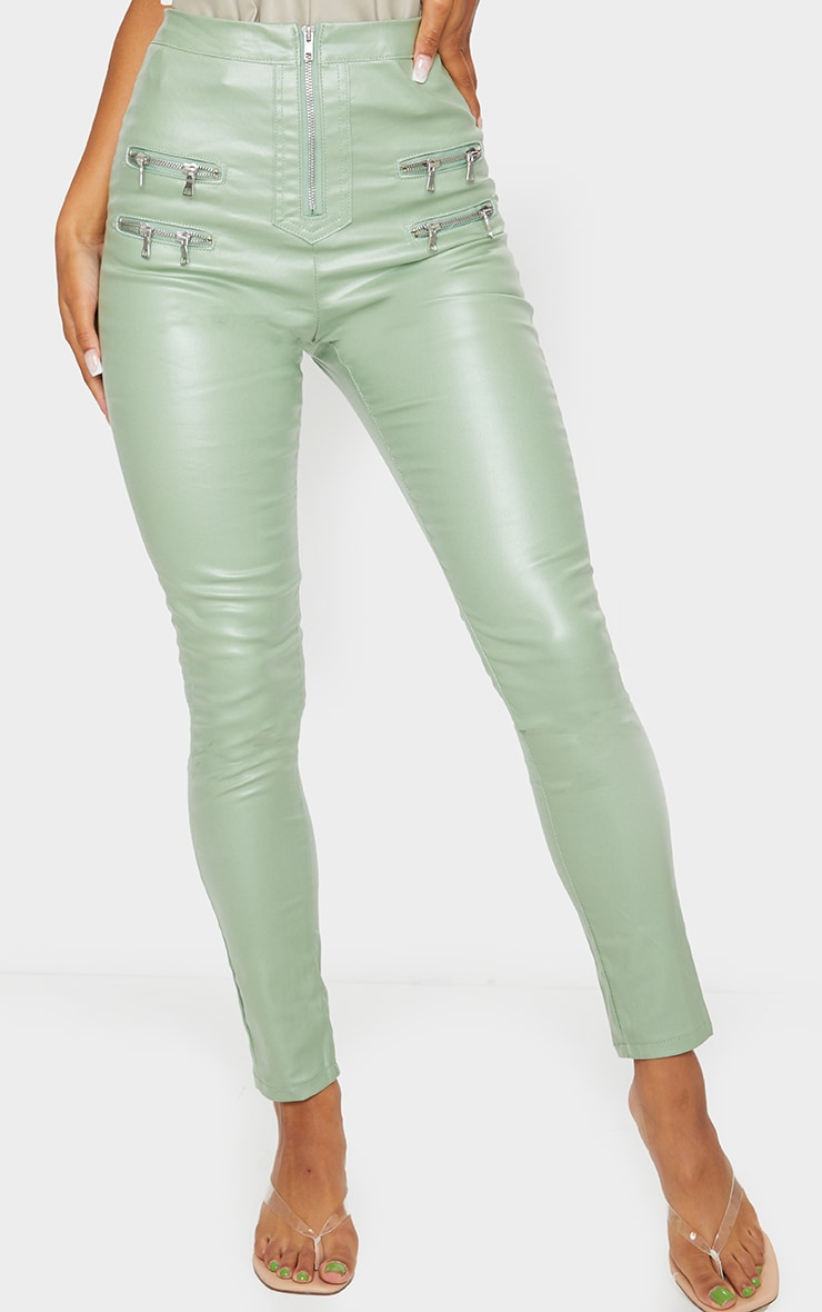 Sage Green Biker Detail Coated Skinny Jeans 2