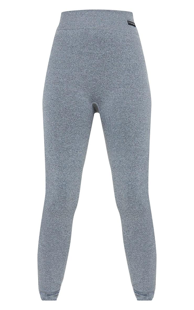 Grey Marl Seamless Rib Waist Gym Leggings 5