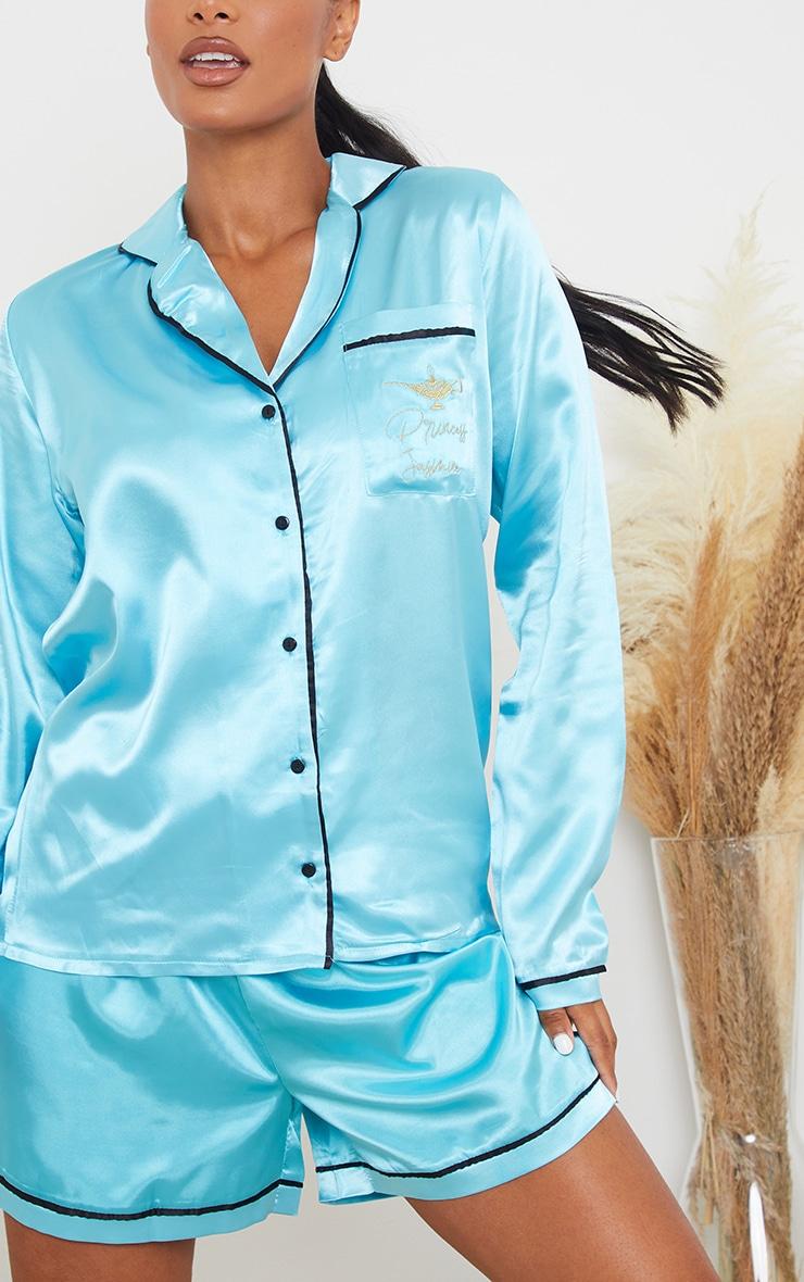 Turquoise Disney Princess Jasmine Embroidered Short Satin PJ Set 4