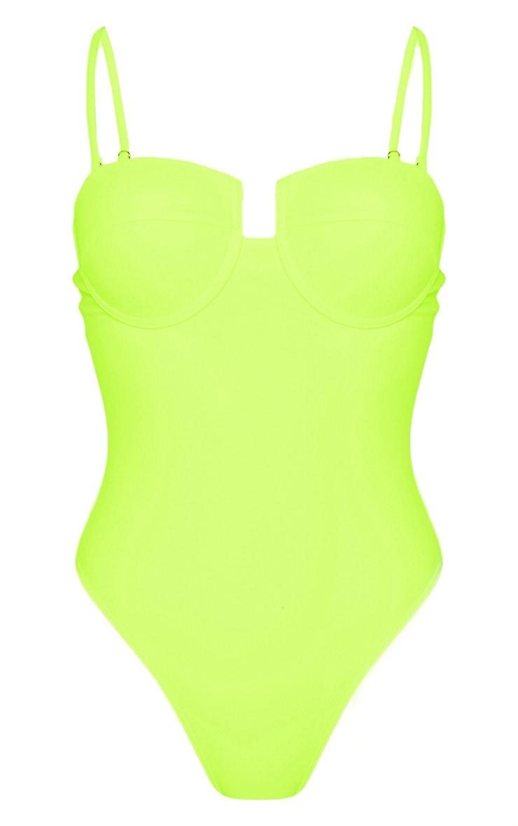Neon Yellow Balcony Cupped Swimsuit 3