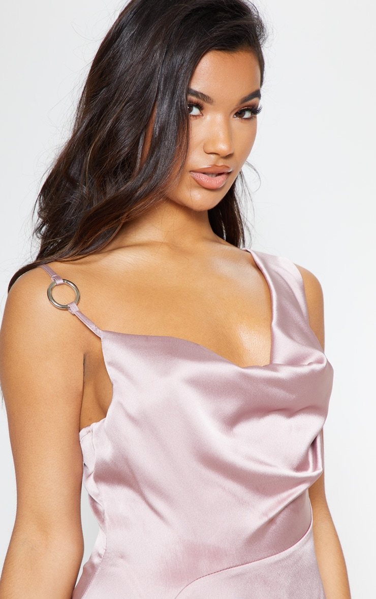 Pale Mauve Satin Ring Detail Cowl Extreme Split Maxi Dress 6
