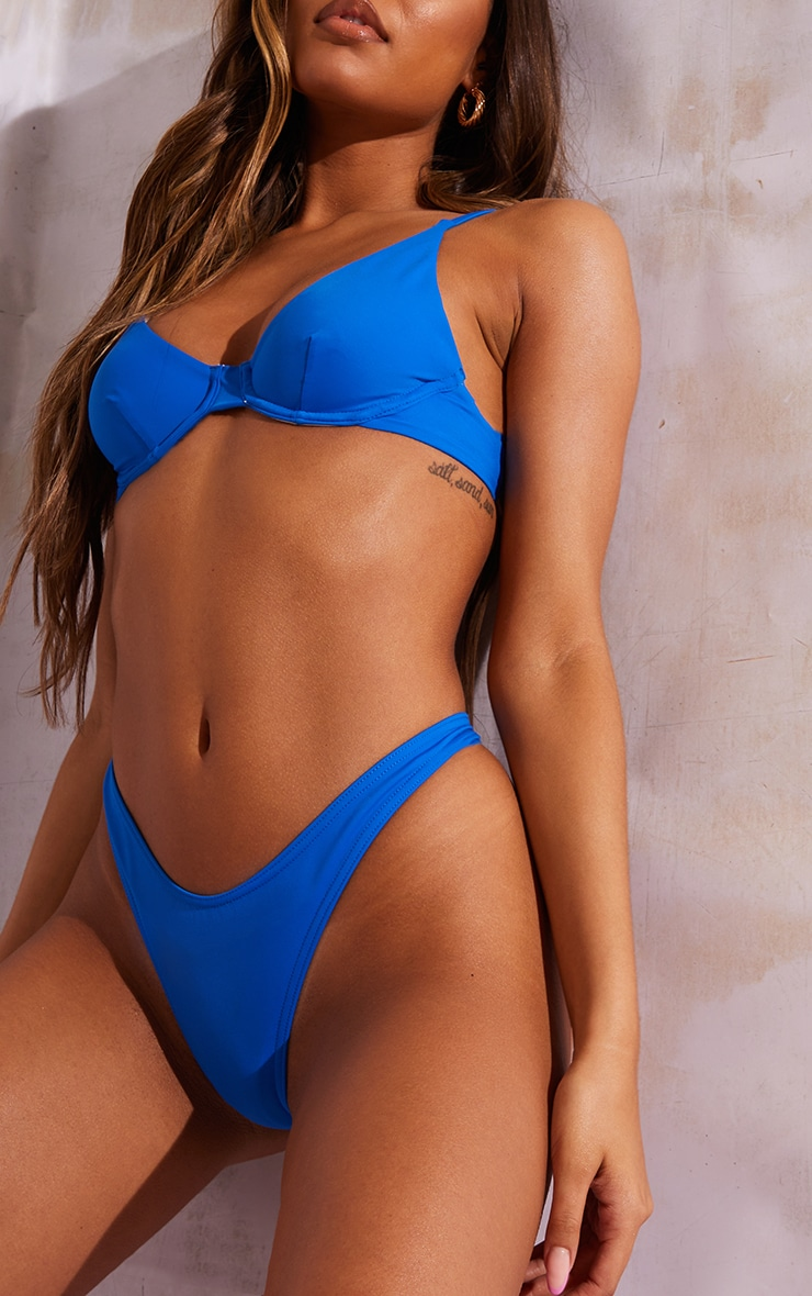 Bright Blue Recycled Fabric Mix & Match Underwired Bikini Top 4