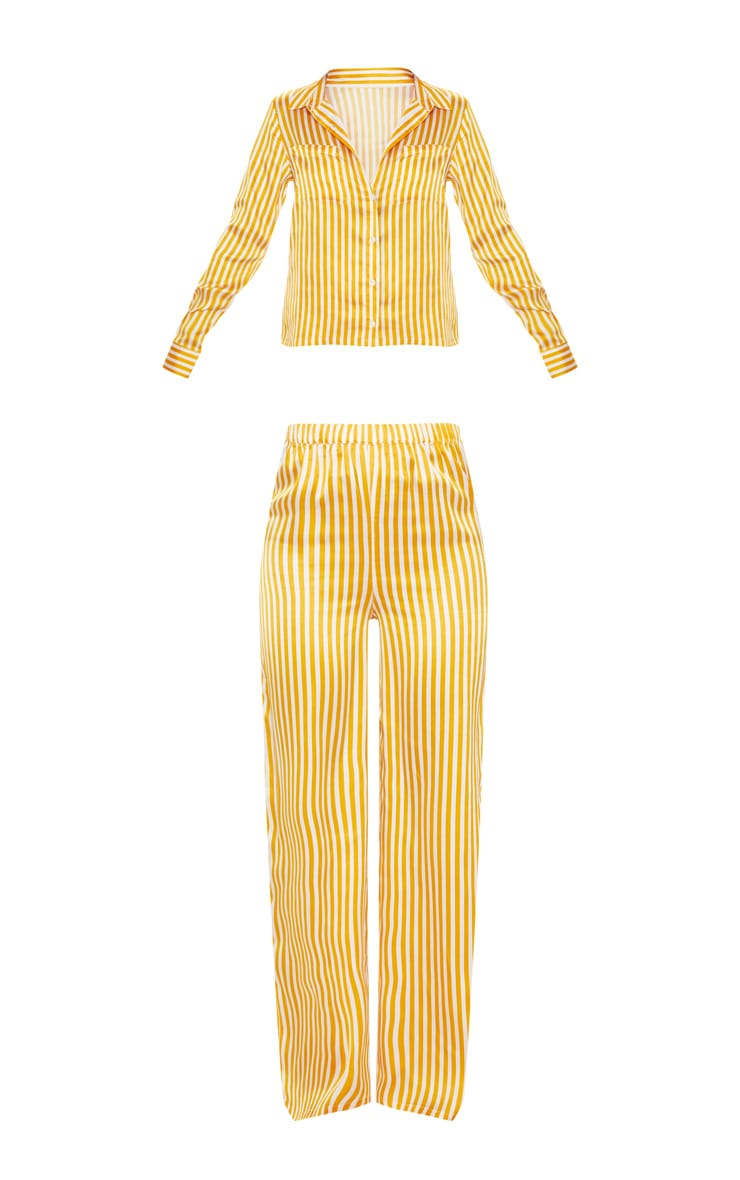 Mustard & White Stripe Satin Long Leg PJ Set 3