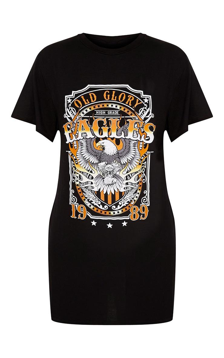 Eagles Slogan Print Black T Shirt Dress 3