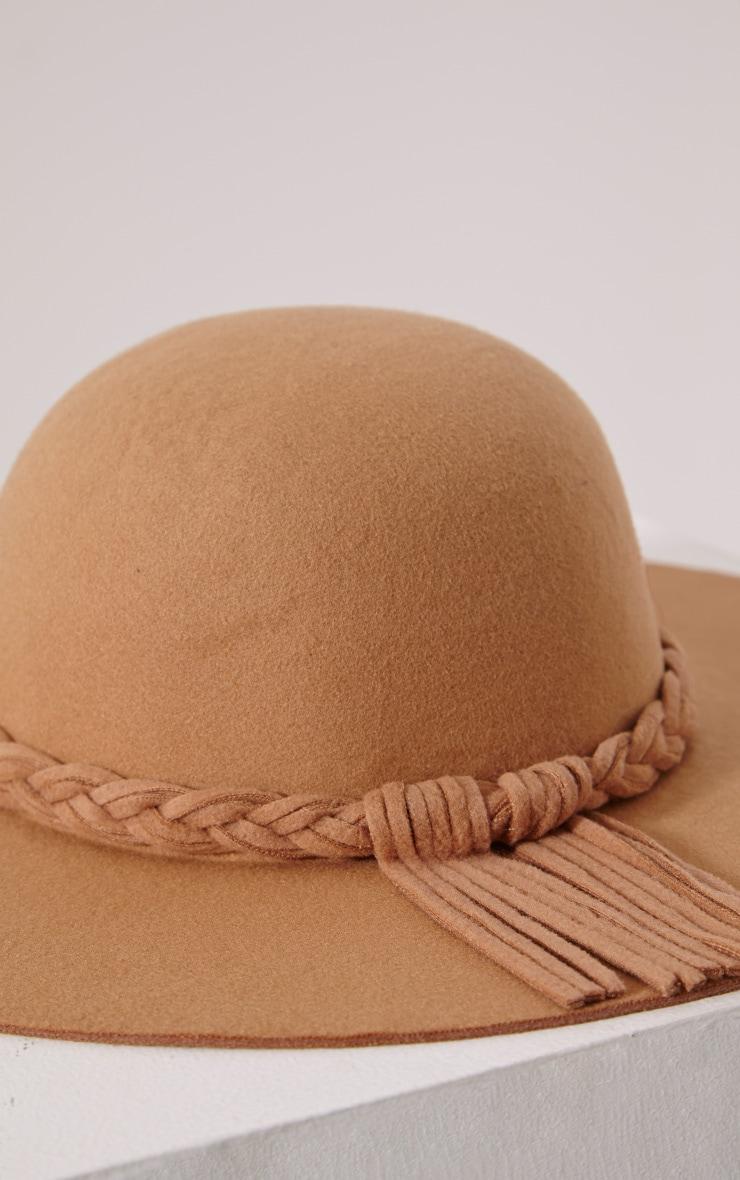 Raylin Camel Plait Detail Floppy Hat 4