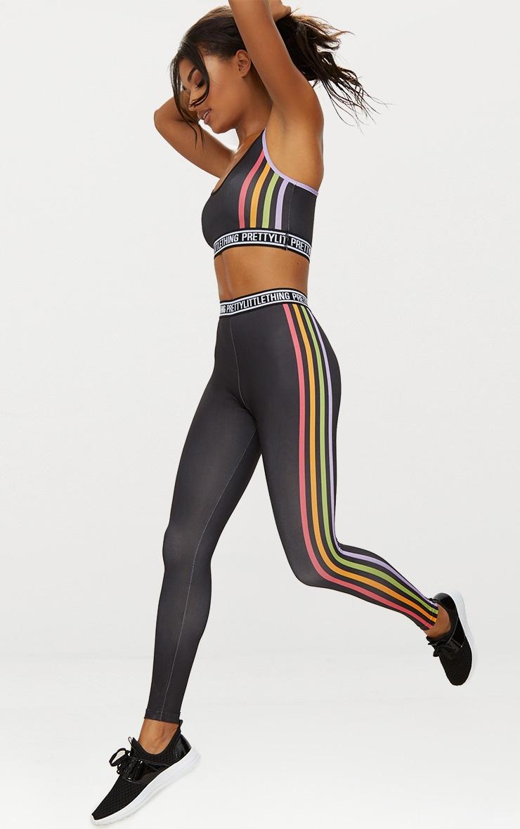 Black Multi Stripe Sports Leggings  1