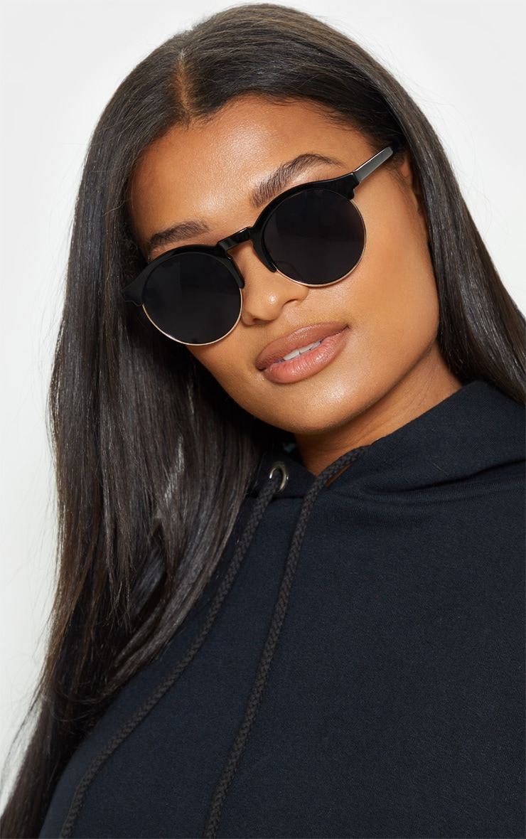 Black Classic Round Retro Sunglasses 1