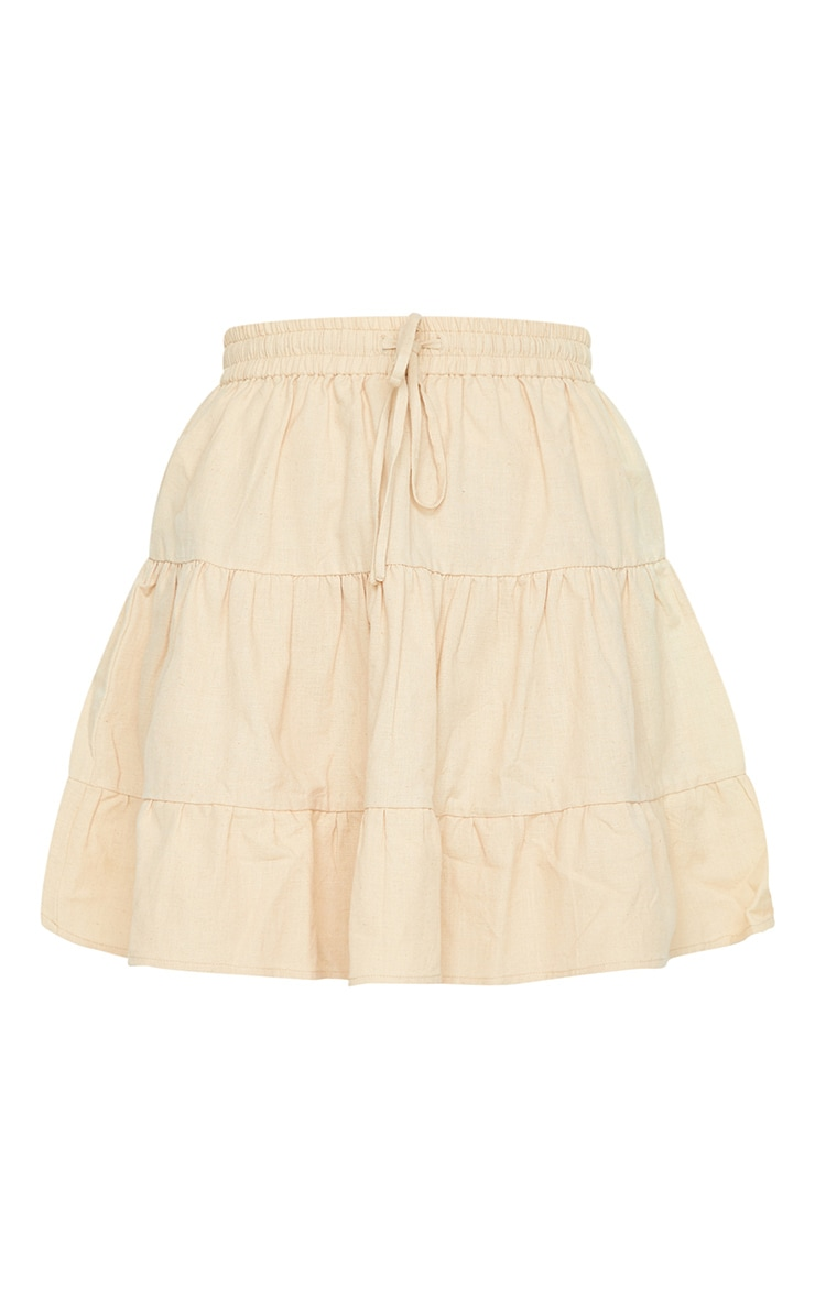 Stone Cotton Drawstring Tiered Skater Skirt 6
