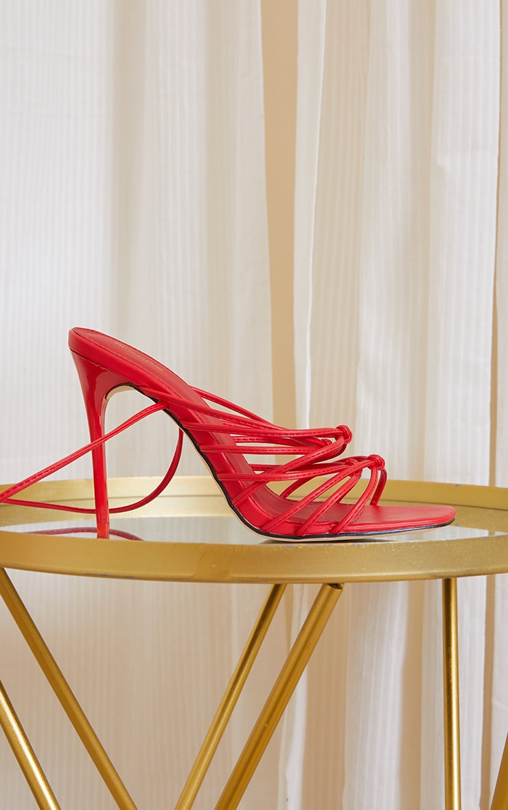 Red Square Toe Strappy Sandal Heels 3