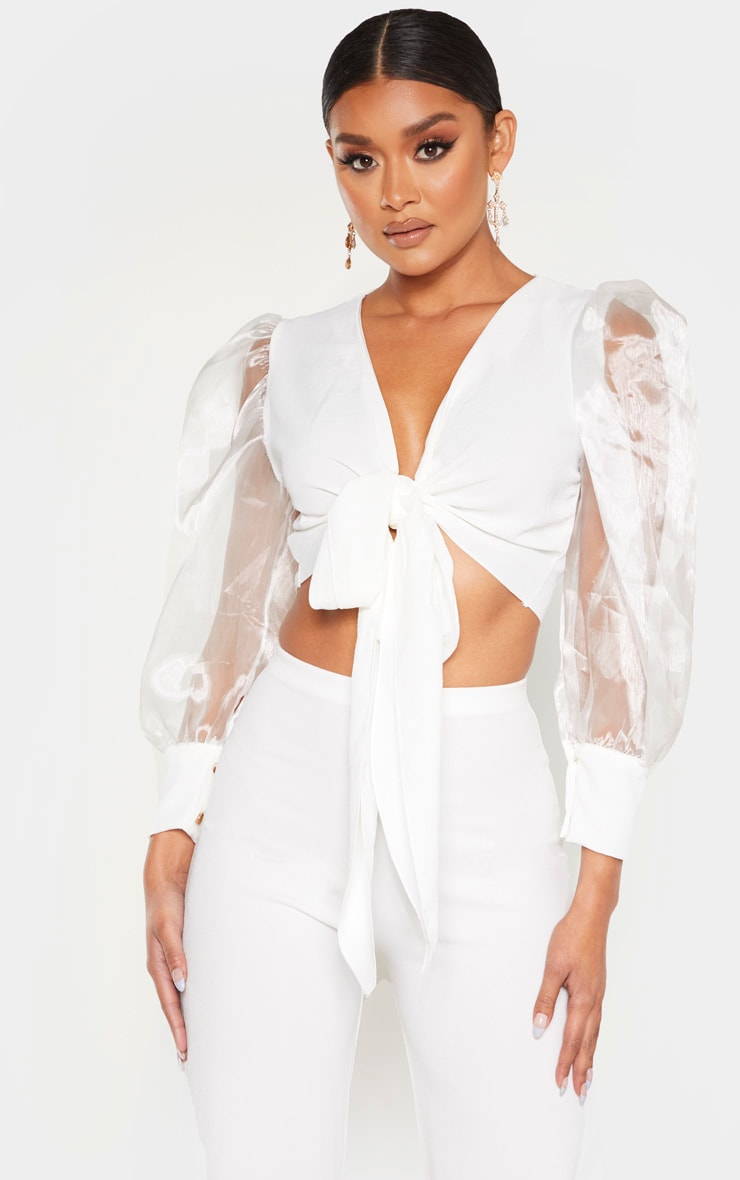 White Sheer Puff Sleeve Tie Front Shirt 1