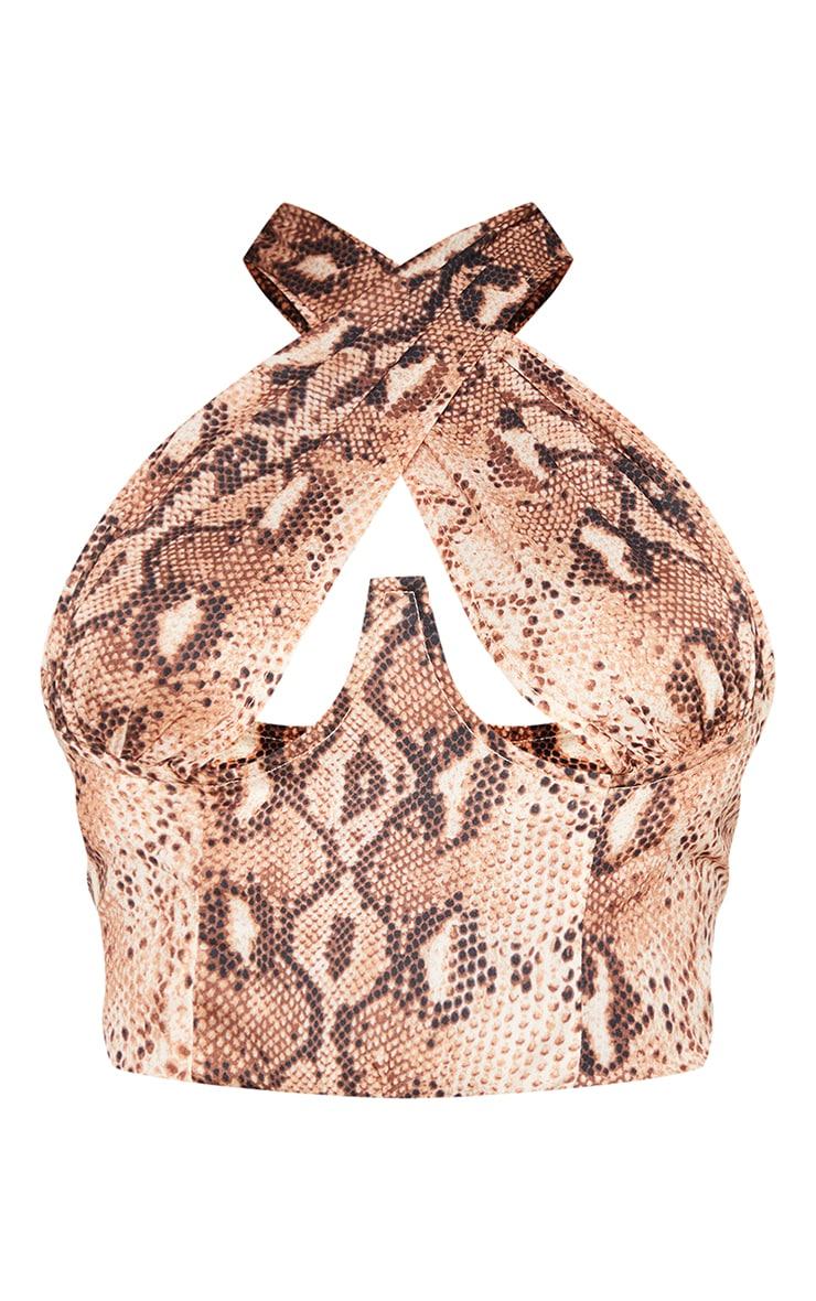 Nude Woven Snake Print Underbust Cross Over Zip Crop Top 5