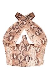 Nude Woven Snake Print Underbust Halterneck Cross Over Zip Corset 5