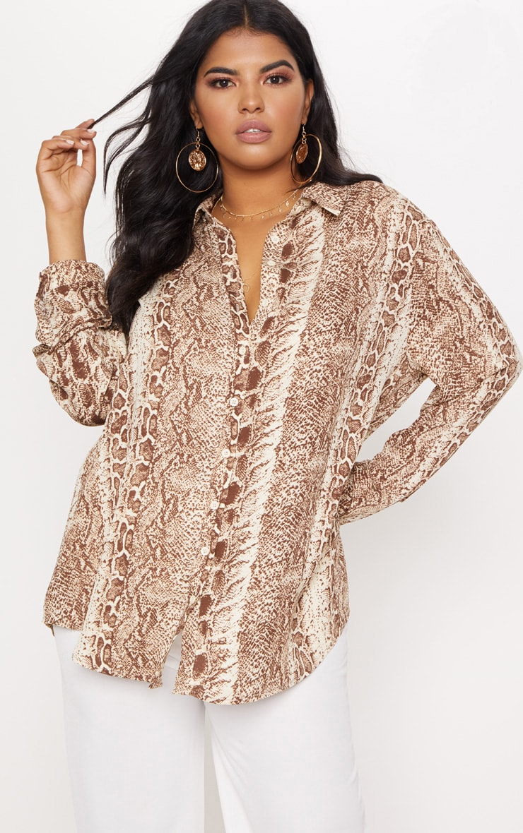 Plus Brown Snake Print Oversized Shirt   3